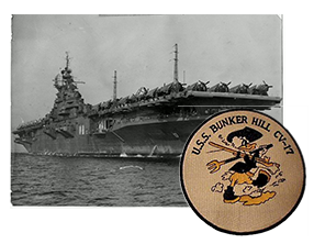 Hugh Harris served as a gunner on the USS Bunker Hill during WWII. On May 11, 1945 she lost nearly 600 of her crew during Japanese kamikaze attacks. Hugh treaded water for hours before rescue. Refusing to leave his ship, he transfered to a cook for the remainder of the war in order to continue to serve on his inactive ship.